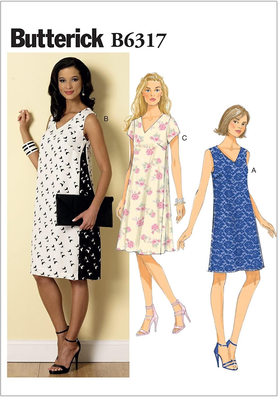 BUTTERICK PATTERNS B6317 Misses' Pullover V-Neck Dresses, Size A5 (6-8-10-12-14)