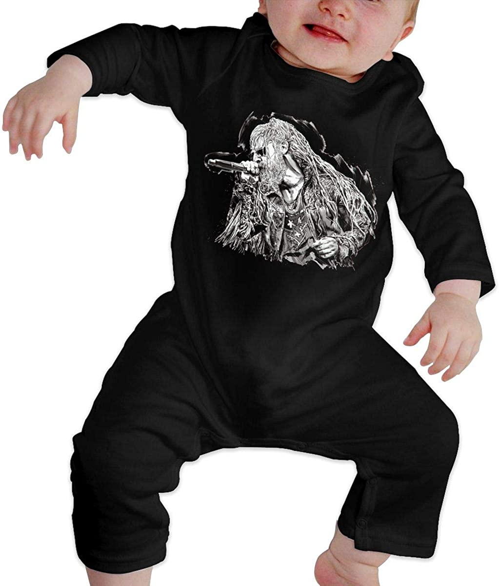 Watkinsmarket Rob Zombie Baby Boy Girl Jumpsuit Jumpsuit Baby Newborn Cotton Long Sleeve Jumpsuit Black
