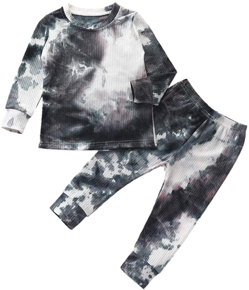 Toddler Little Girl Boy Clothes Tie Dye Sweatshirt with Pants Girls Boys Fall Winter Outfit Pajamas
