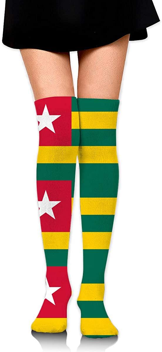Knee High Socks Togo Flag Women's Athletic Over Thigh Long Stockings