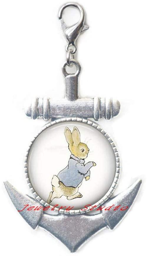 Rabbit Logo Lobster Clasp Anchor Zipper Pull Art Book Anchor Zipper Pull Handmade Round Lobster Clasp Storybook Fantasy Friend-HZ0142