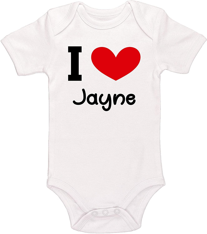 Kinacle I Love Jayne Personalized Baby Bodysuit