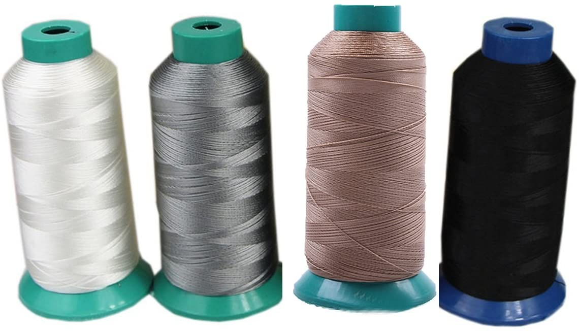2000 Yards Nylon Sewing Threads for Denim/Leather/Canvas (White Black Gray Brown)