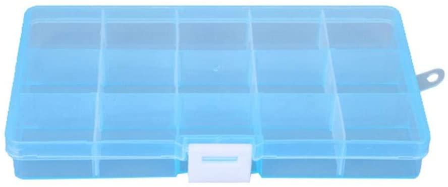 Cuiedailqhb Portable 10/15 Grids Ear Studs Beads Storage Box Jewelry Organizer Holder Case - Blue 15 Grids