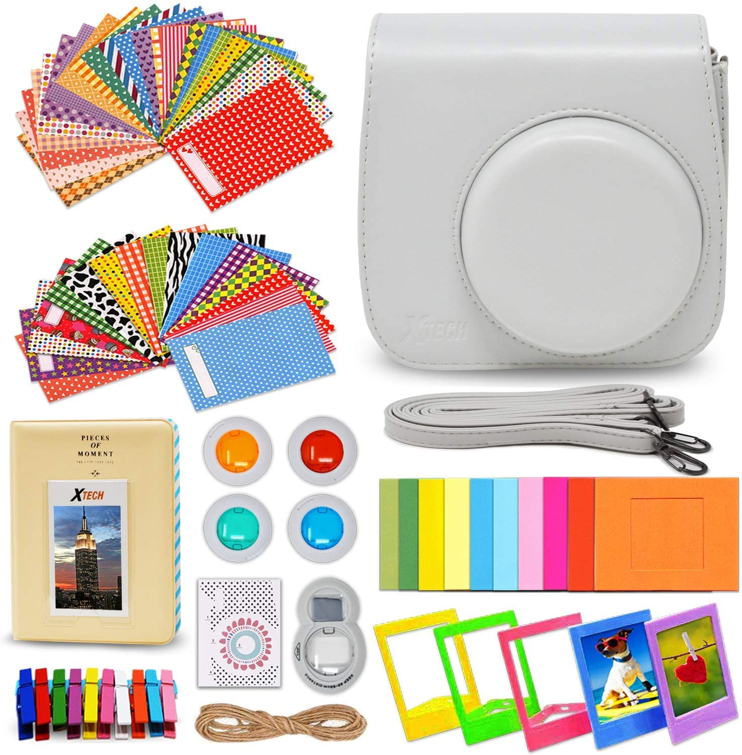 Xtech FujiFilm Instax Mini 9/8 Smoky WHITE Accessories Kit with Smoky white Camera Case with Strap + Photo Album + Colorful Frames + Sticker Frames + 4 Colorful Filters + Large Selfie Mirror + MORE