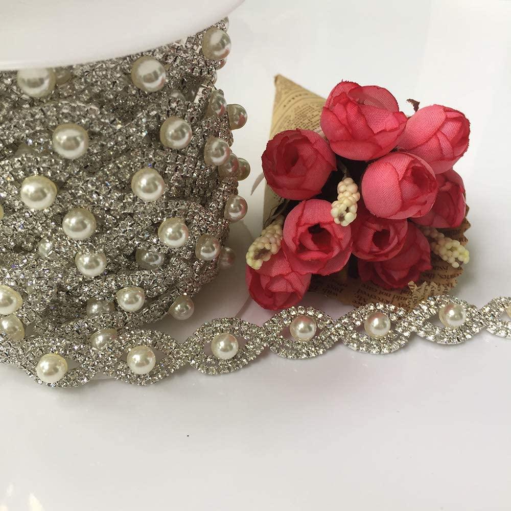 5Yards Rhinestone Chain Pearls Crystal Chain Sew On Trims Wedding Dress Costume Applique (Silver Base)