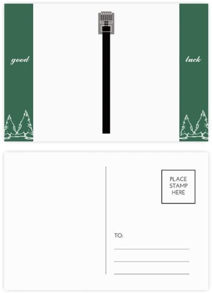 Black Internet Cable USB Plug Pattern Good Luck Postcard Set Card Mailing Side 20pcs