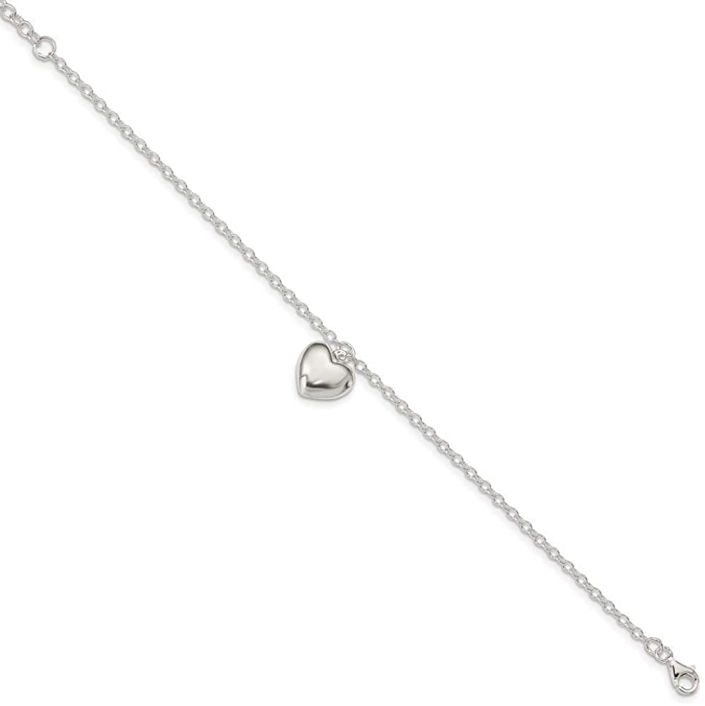 925 Sterling Silver Puffed Heart 1.5in Extension Bracelet - with Secure Lobster Lock Clasp 8