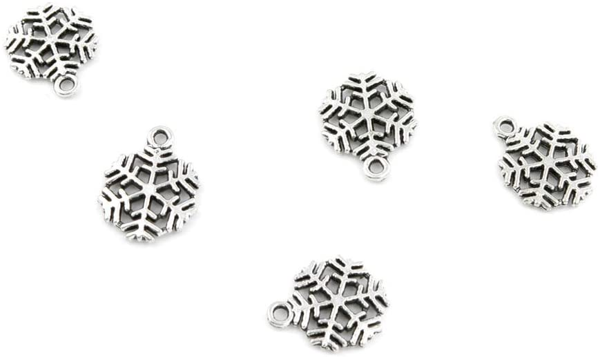 450 PCS Jewelry Making Charms 605NE0 Snowflake Antique Silver Tone Necklace Bracelet Repair Bulk Lots Pendant Findings