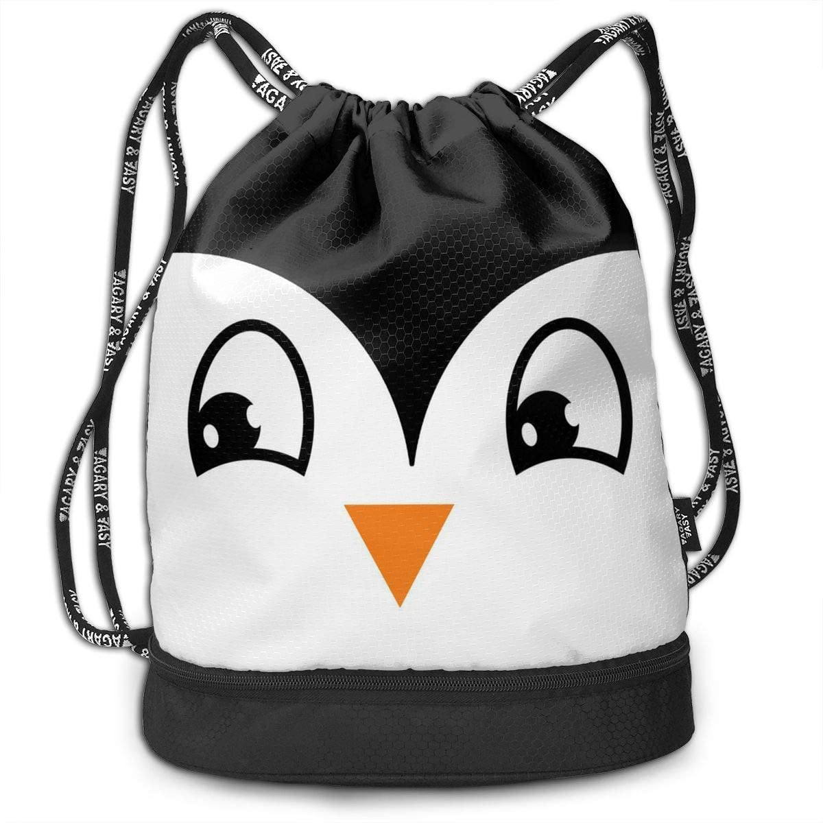 Bundle Backpacks Penguin Face Gym Sack Drawstring Bags Casual Daypack Yoga Bag School Training Pouch