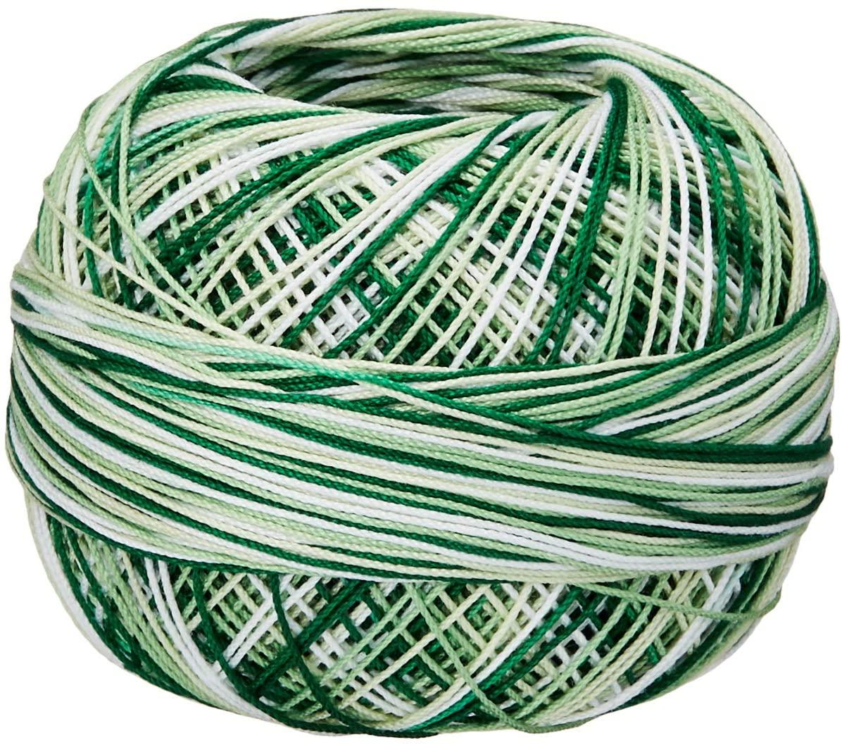 Handy Hands 210-Yard Lizbeth Cotton Thread, 25gm, Christmas Green Mix