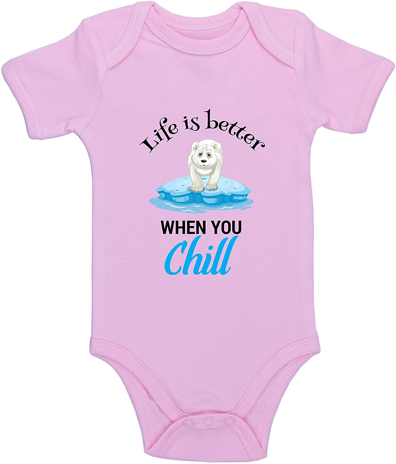 Kinacle Life is Better When You Chill, Polar Bear Baby Bodysuit