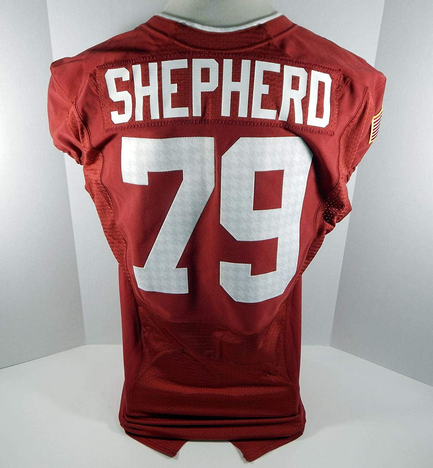 2010-14 Alabama Crimson Tide Austin Shepherd #79 Game Used Red Jersey BAMA00154 - College Game Used