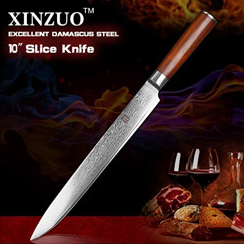 Best Quality Kitchen Knives 10 inch Slicing Knife Stainless Steel Cleaver Knife Ebony Wood Handle Professional Chef Knife Sashimi Knife Kitchen Utilities