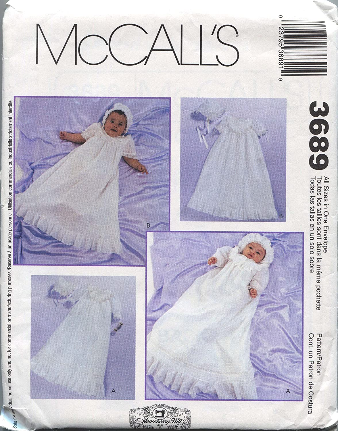 MCCALLS PATTERN 3689 INFANTS CHRISTENING GOWNS, SLIPS AND BONNETS ALL SIZES