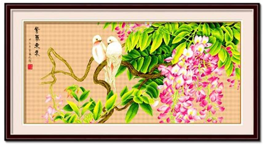 Two White Parrot on Wisteria Pink Flowers Stamped Cross Stitch Kit Embroidery Needlework Set, Beige, 43.3