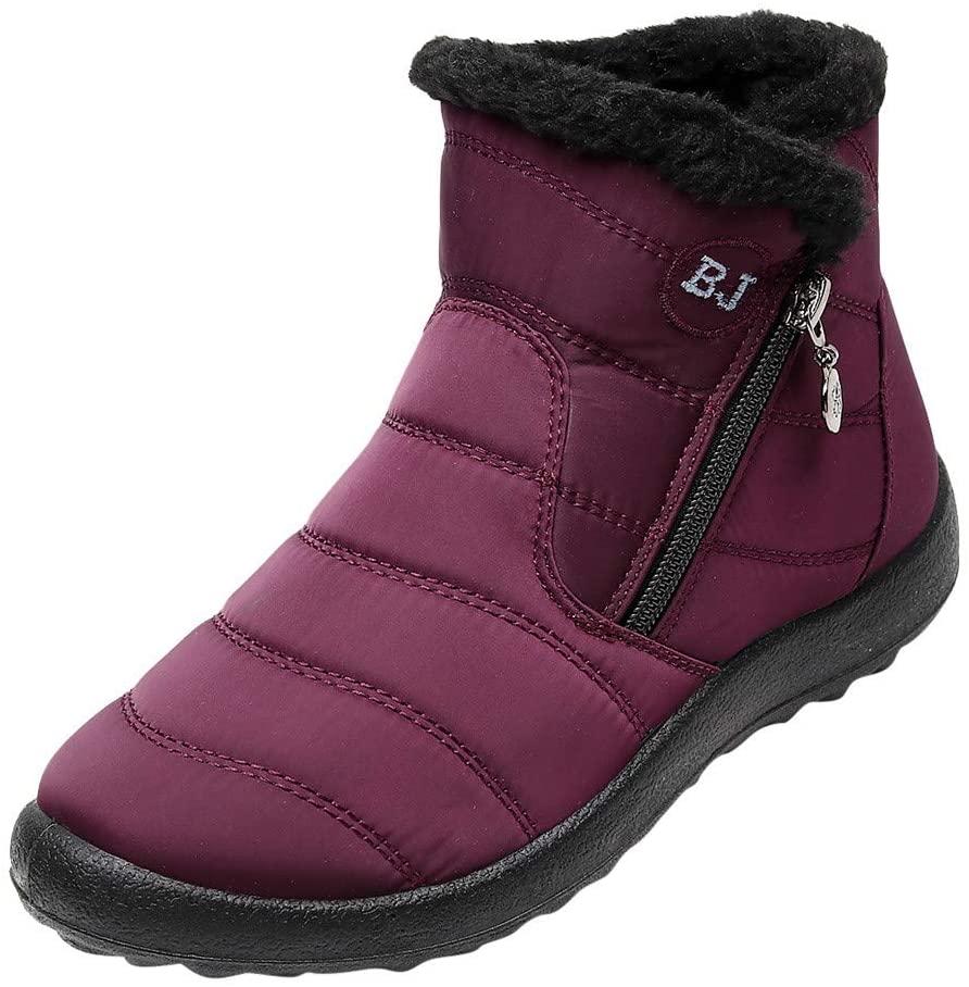 Women Winter Warm Snow Boot Ladies Short Boots Waterproof Cotton Shoes Nylon Zipper Ankle Boots