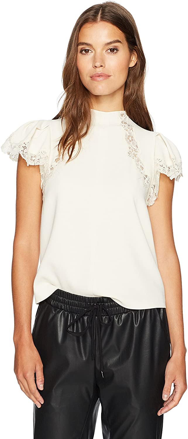 Rebecca Taylor Women's Shortsleeve Crepe Lace Top