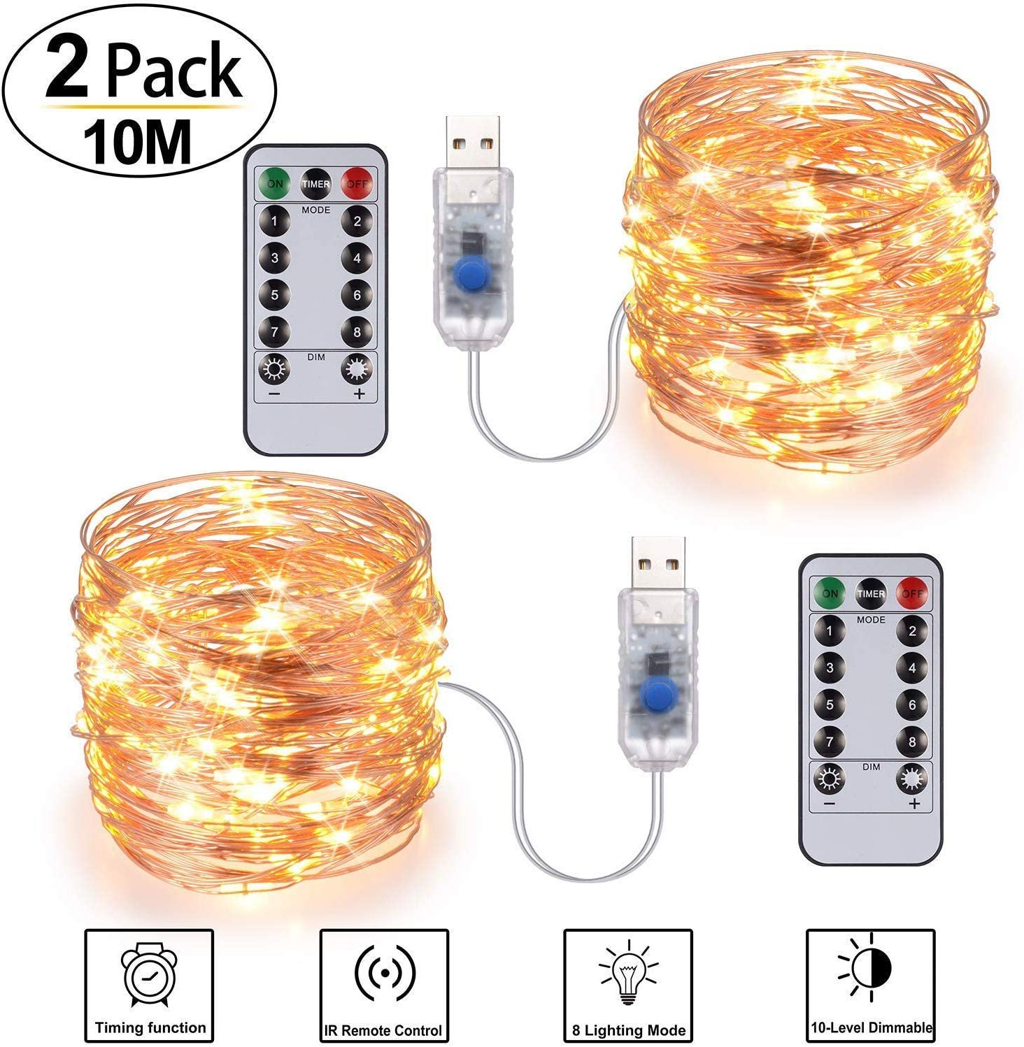 DOOK LED Fairy String Lights with Remote Control - 2 Set 100 LED 33ft/10m Micro Silver Wire Indoor USB Operated Firefly String Lights for Garden Home Party Wedding Festival Decorations(Warm White)