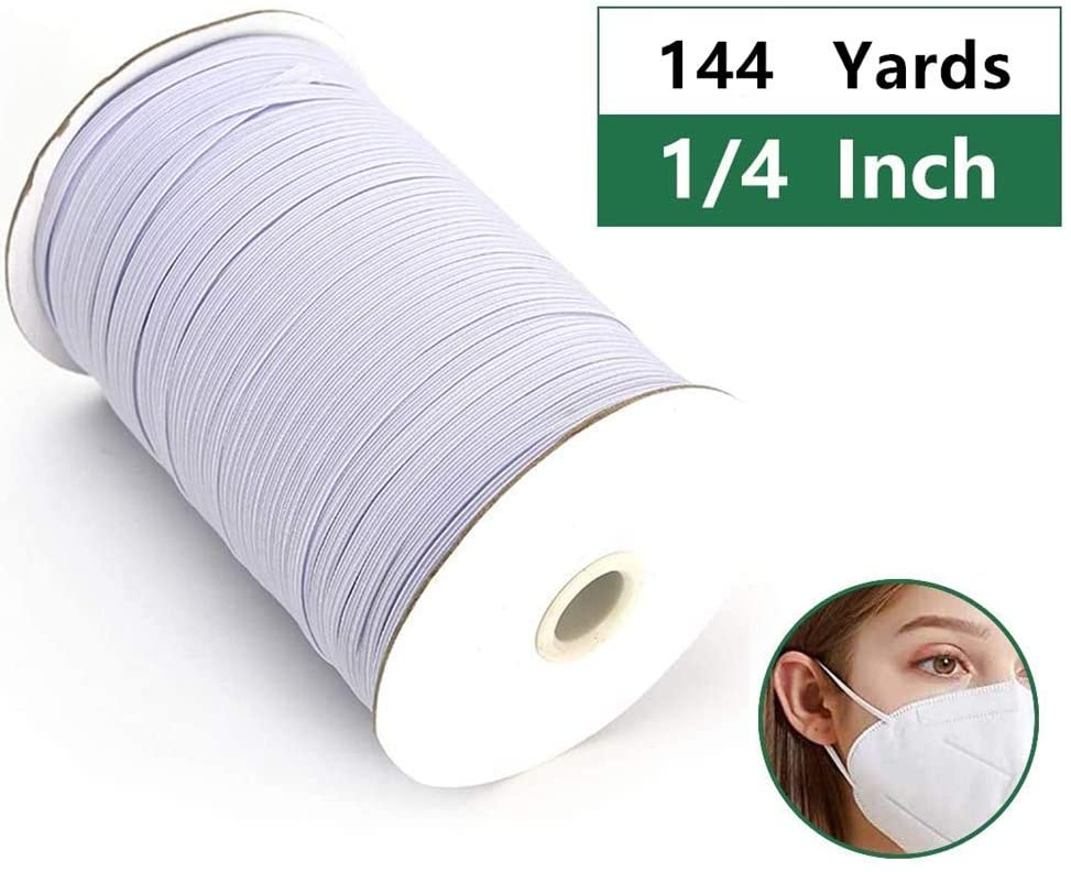 1/4 Width 144 Yards Length Elastic Bands for Sewing Braided Elastic Cord/Elastic Band/Elastic Rope/Bungee/White Heavy Stretch Knit Elastic Spool