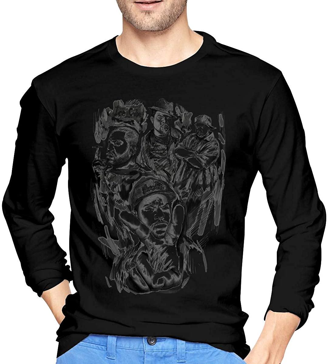 JeccLife ICE Cube Mens Long Sleeve T-Shirt Cotton Round Neck Shirt Black