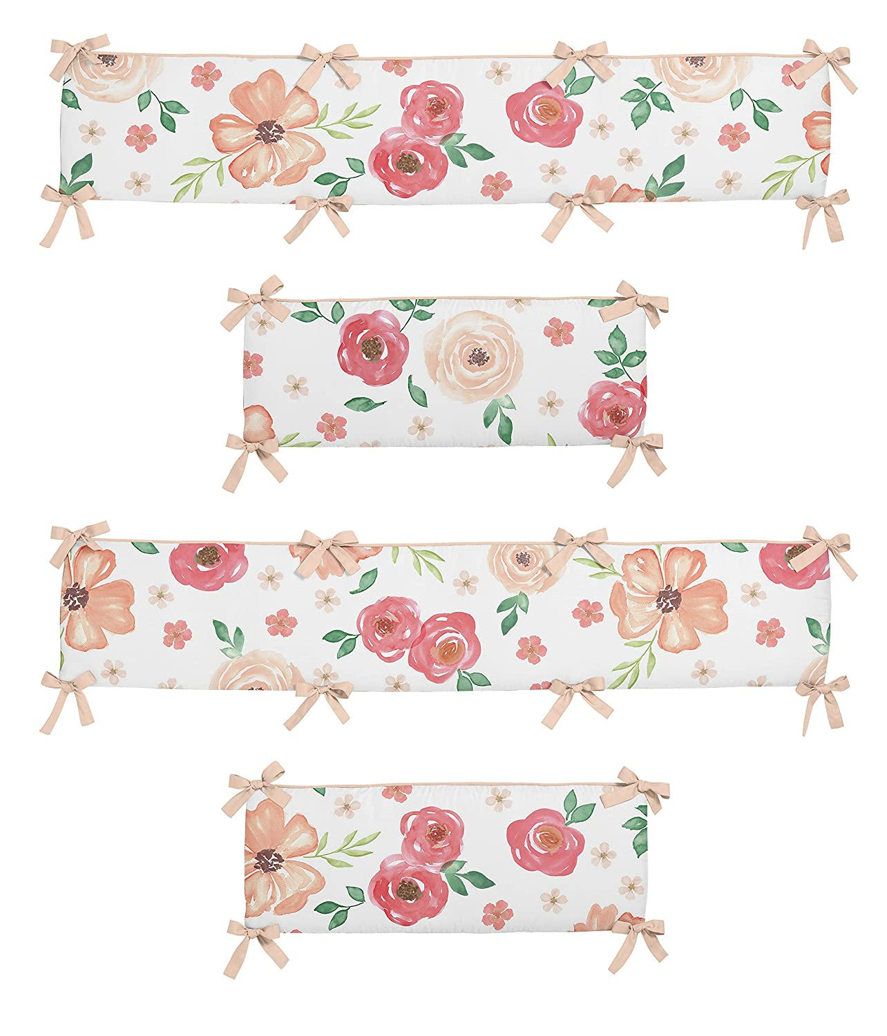 Sweet Jojo Designs Peach and Green Shabby Chic Baby Crib Bumper Pad for Watercolor Floral Collection - Pink Rose Flower