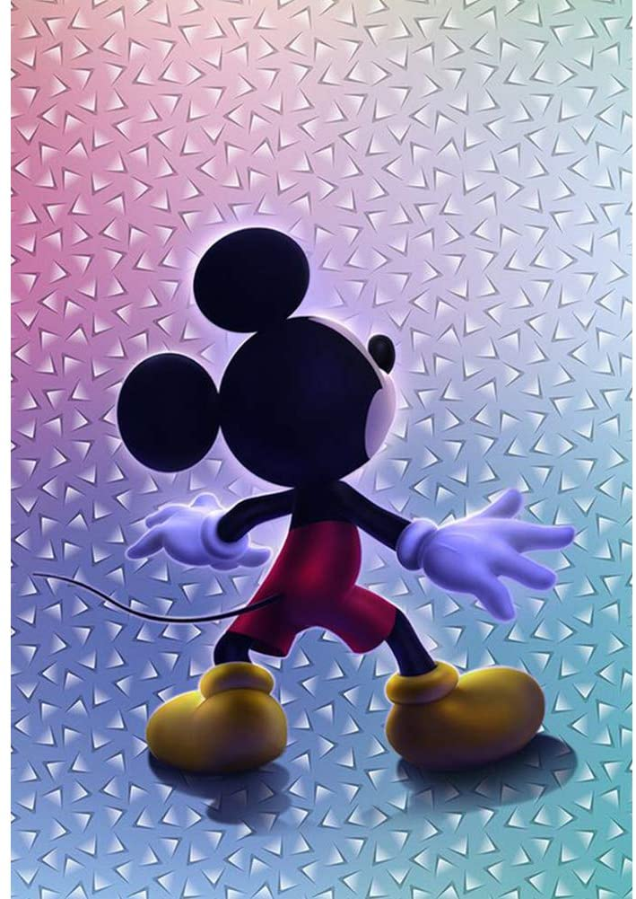 Diamond Painting by Number Kits for Adults and Kids,Cute Mickey Mouse Cartoon DIY 5D Diamond Painting Full Drill Cross Stitch Embroidery Rhinestone Arts Craft Canvas for Home Wall Decor,16
