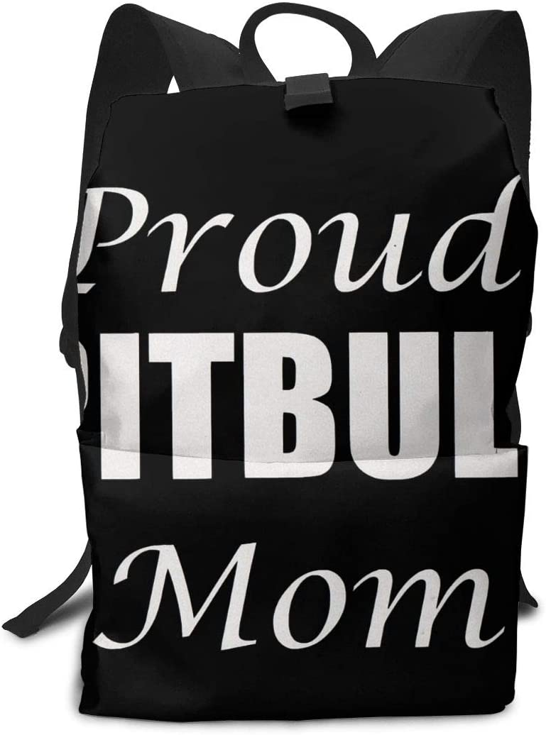KLQ Proud Pitbull Mom Travel Backpack Business Daypack Shoulders Bag Computer Rucksack