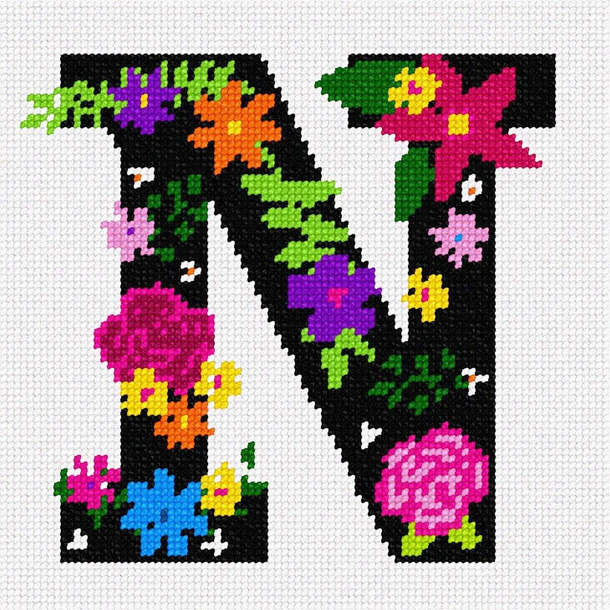 pepita Letter N Primary Floral Needlepoint Kit