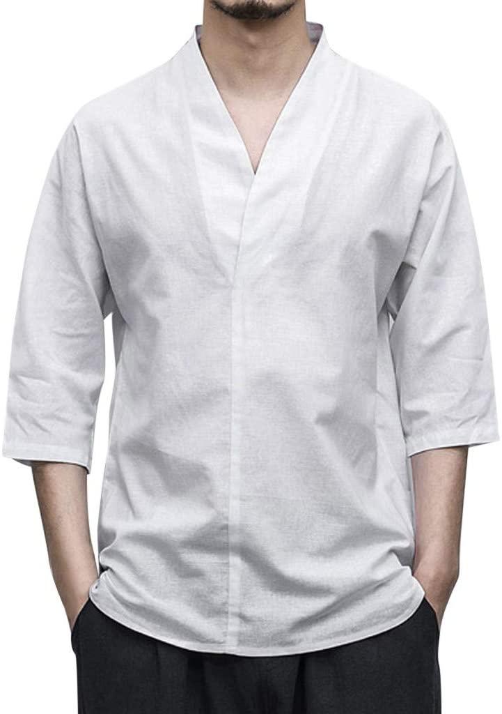 NIUQI Men Linen Patchwork Seven-Minute Sleeve Solid Color Loose V Neck Blouse T Shirt White