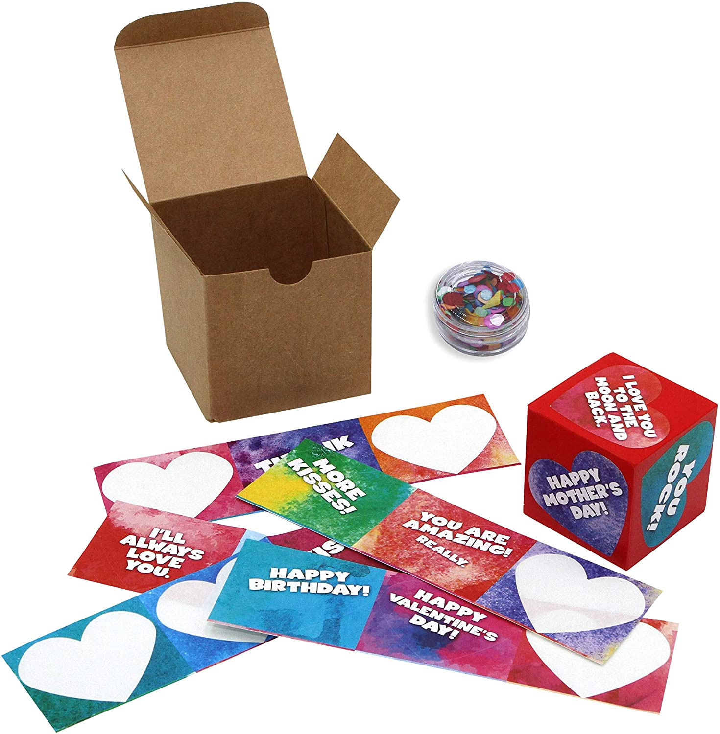 I Love You Qube Gift Set, Peel and Stick to Create Your Own Personalized Gift, Heartfelt DIY Mother's Day, Birthday, and Thank You Gifts for Mom and Grandma from Kids (Red)