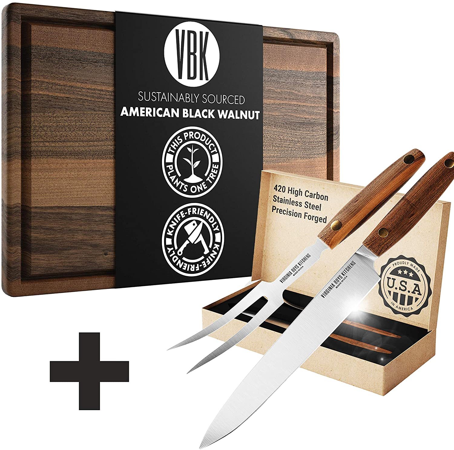 Meat Carving Set - 18x24 inch Extra Large Wooden Cutting Board + 2 Piece Carving Knife and Fork Set - MADE IN USA