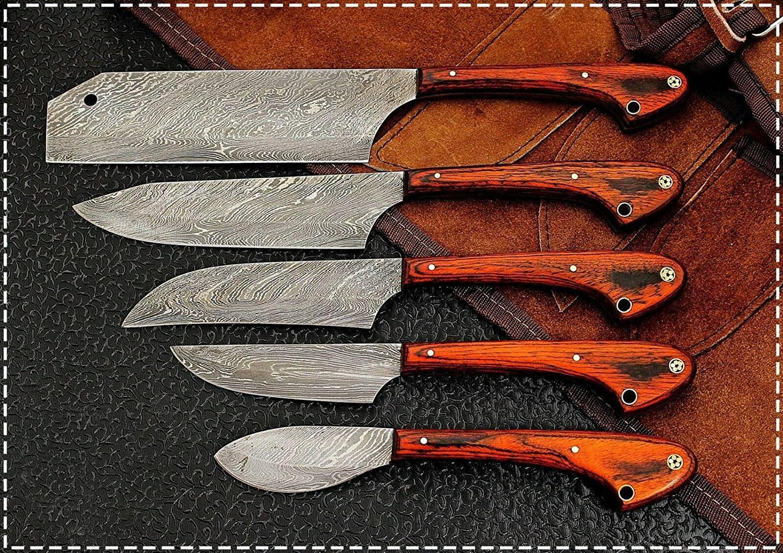 CUSTOM HANDMADE DAMASCUS STEEL 5 PCS CHEF/KITCHEN KNIFE PAKKA WOOD HANDLE.