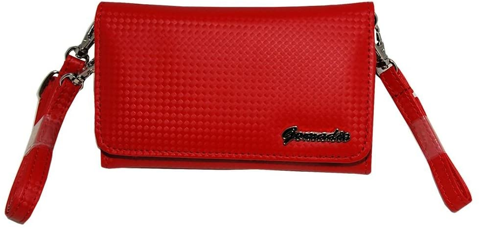 Small and Stylish Women Red Purse Handbag Case for Fujifilm devices with both Hand / Shoulder Strap