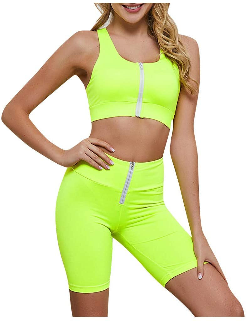 Akabsh Workout Two-Piece Outfits Women Solid Zipper Crop Top High Waist Pant Sport Yoga Workout Two-Piece Outfits Exercise Hip Lift Yoga Suit Running Fitness Yoga Suit