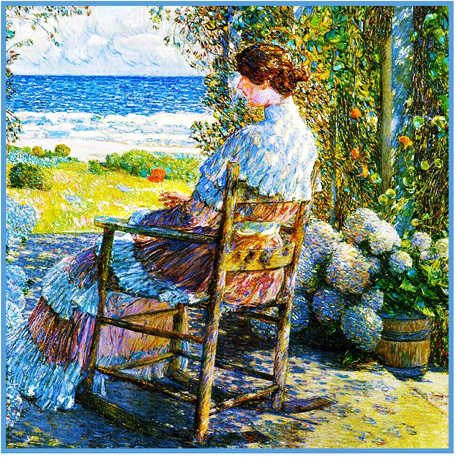 Orenco Originals Gazing at Sea from Porch in Isle Shoals American Impressionist Painter Childe Hassam Counted Cross Stitch Pattern