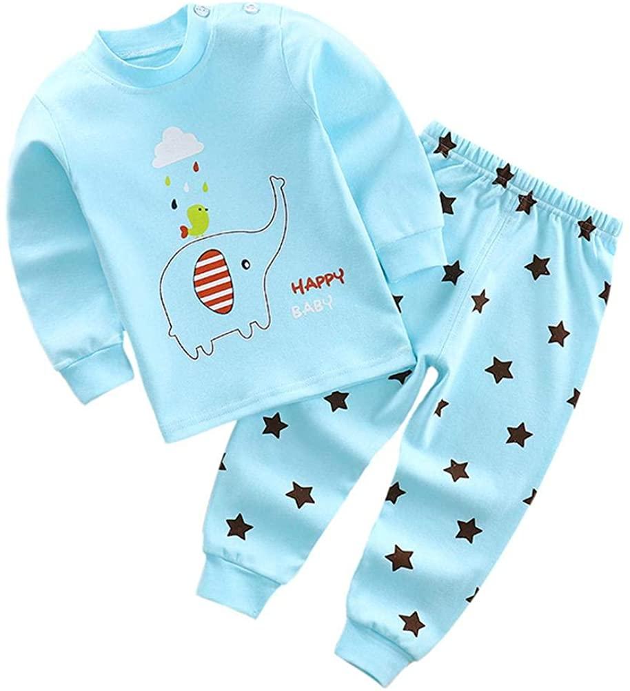 2pcs Kids Toddler Baby Girls Boys Long-Sleeve Pajamas Autumn Cotton Cartoon Tops Long Pants Clothes Set 1-4 Years
