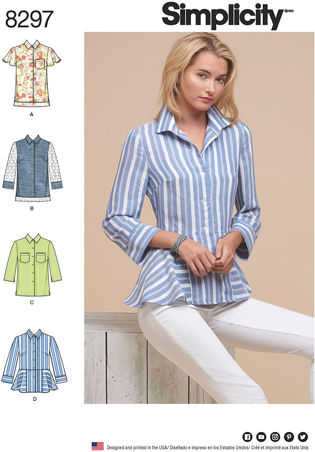 Simplicity Womens Button-Up Blouse Sewing Patterns, Sizes 14-22