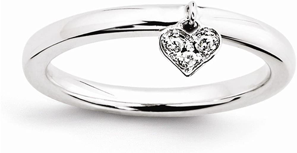 Sterling Silver Dangle Heart Diamond Ring by Stackable Expressions, Best Quality Free Gift Box
