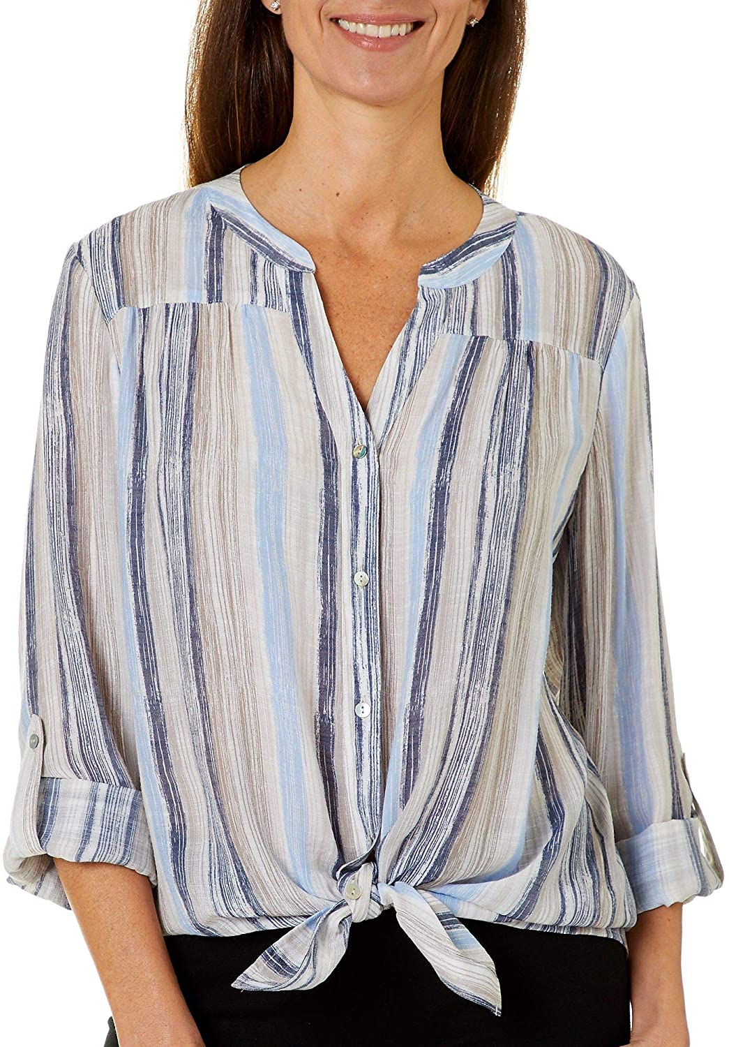 Zac & Rachel Womens Striped Button Down Tie Front Top