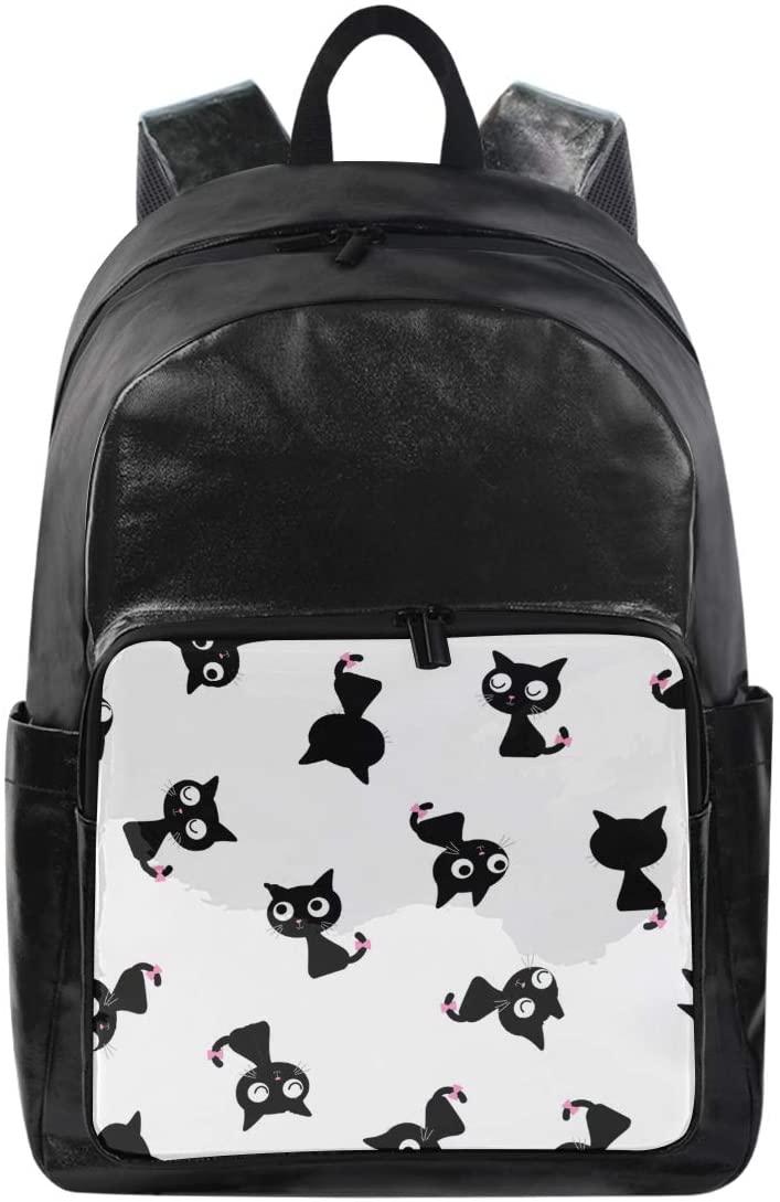 Women/Men Canvas Backpack Black Cat Bookbag College School Shoulder Bag Daypack Travel Rucksack for Youth