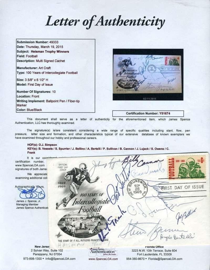 Heisman Fdc Vessels Frank Simpson Etc Jsa Autograph Signed By 10 - NFL Autographed Miscellaneous Items
