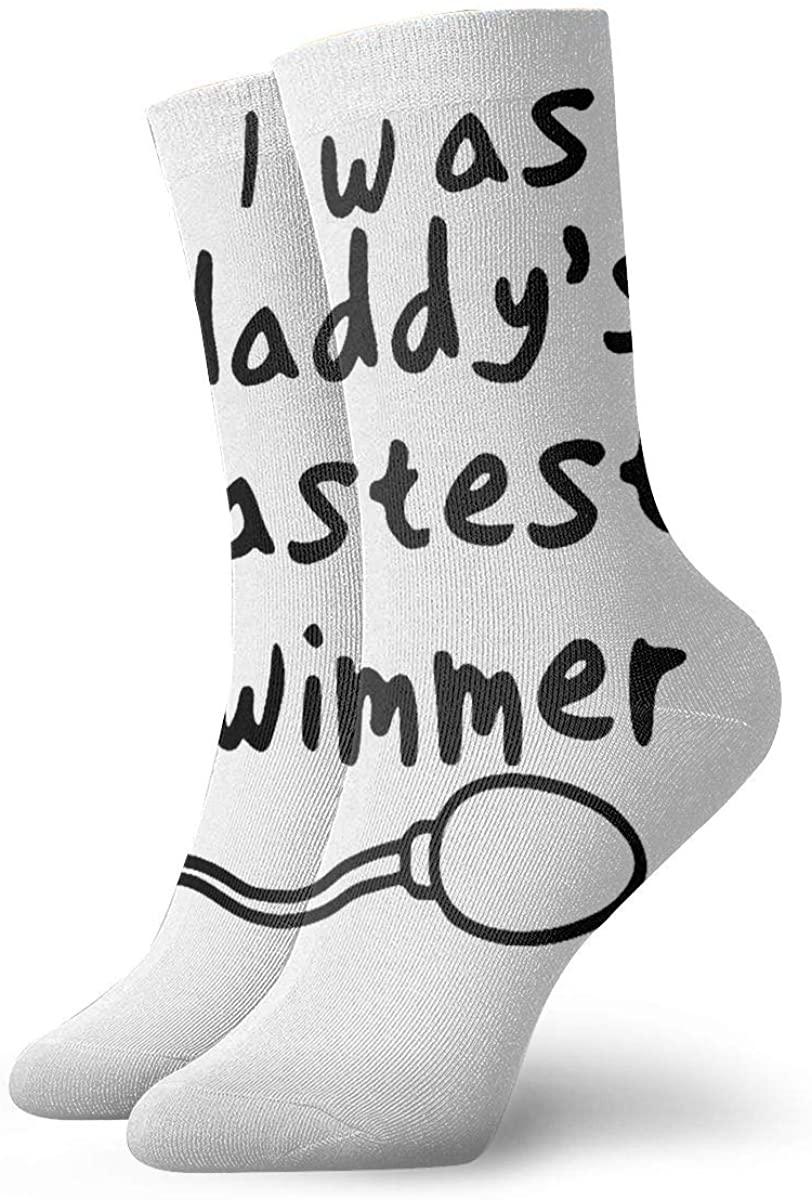 I Was Daddy's Fastest Swimmer Short Crew Socks Dress Socks Athletic Socks