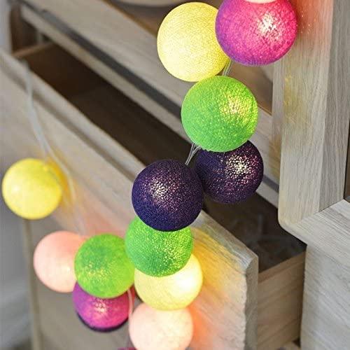 DishyKooker 1.5M/3M/6M 10LEDs/ 20LEDs/ 40LEDs Fairy Cotton Balls Lights Christmas Girl Bedroom Decoration Battery Powered Fun Paradise 3 Meters 20 Lights Boys and Girls Like it