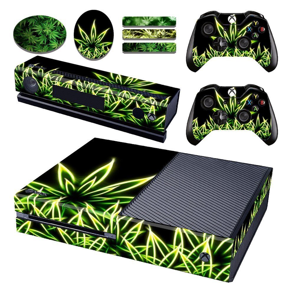Marijuana Weed Leafs Vinyl One Xboxone Console Skin & Two Wireless Controller Cover Decal & Four Free Stickers Set for Microsoft Xbox one