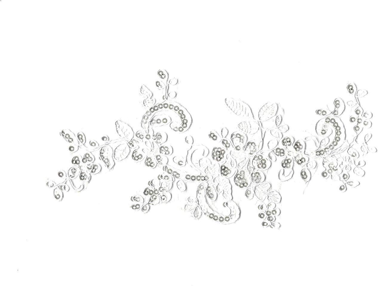 6 Pieces XWhite Sequins Floral lace Applique White Bridal Sequins lace Motif White Sequin Embroidered Patches Motif White Sequin lace appplique lace Embroidery Motif White Sequins Motif Applique