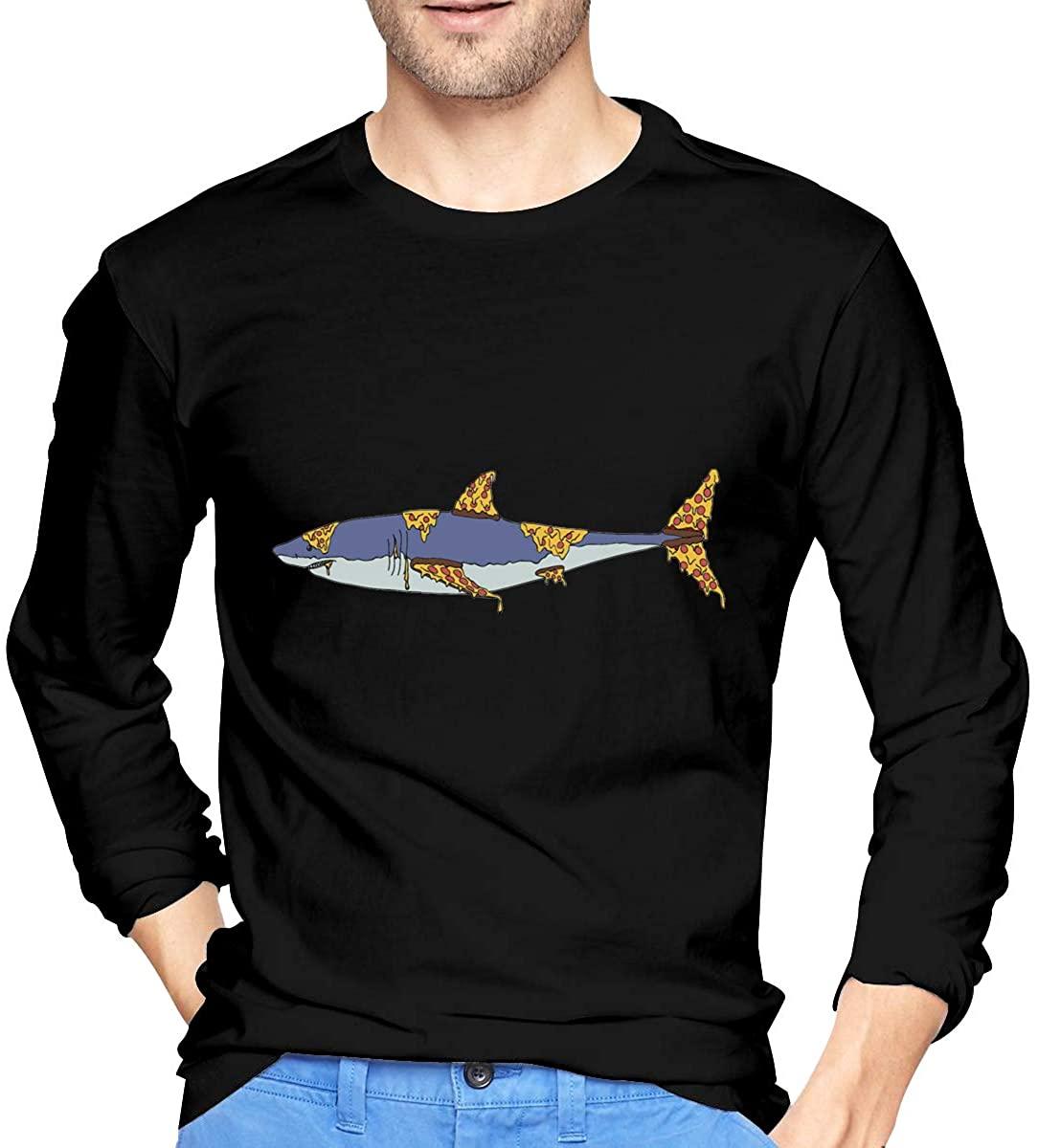 Pizza Shark Men's Long Sleeve Casual Cotton T-Shirt