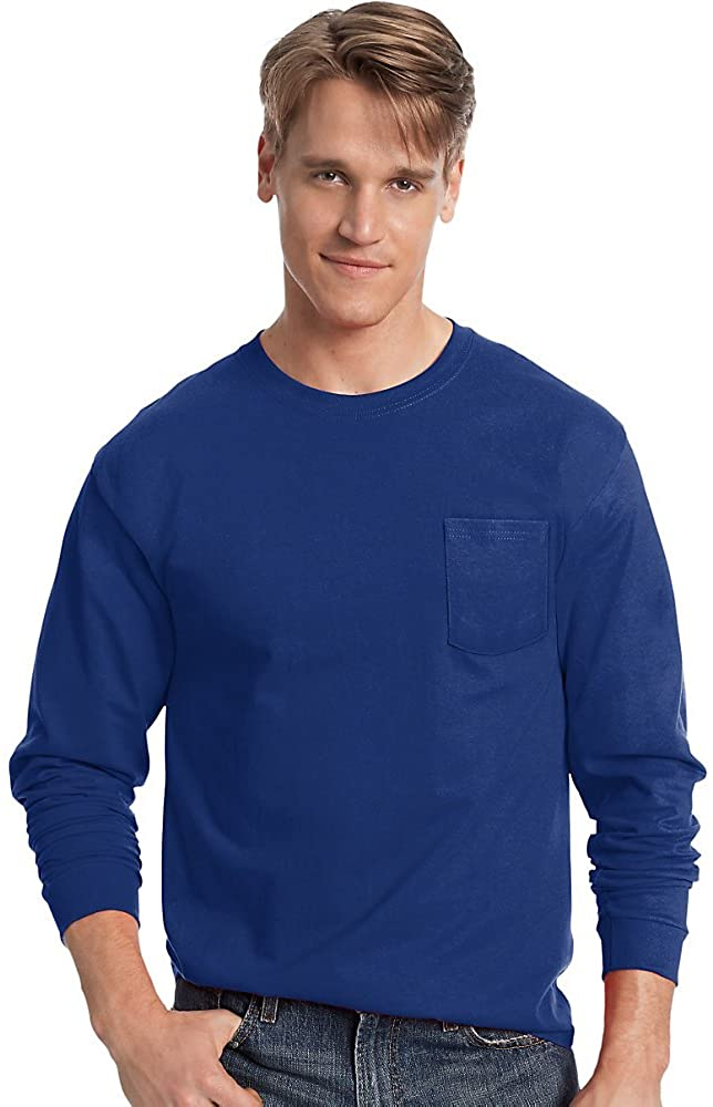 Hanes Men's TAGLESS Long-Sleeve T-Shirt with Pocket_Deep Royal_2XL