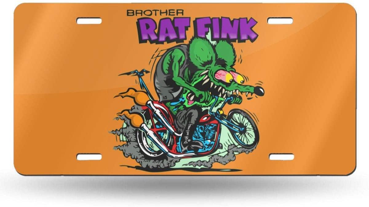 N/D Rat Fink License Plate Decorative Car Front License Plate,Metal Car Plate,Aluminum Novelty License Plate for Men/Women/Boy/Girls Car,6 X 12 Inch