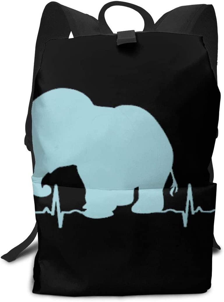 KLQ Elephants Heartbeat. Travel Backpack Business Daypack Shoulders Bag Computer Rucksack